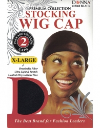 Donna - X-Large Stocking Wig Cap 2pcs 22060 (BLACK)