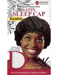 Donna - Satin Sleep Cap X-Large 11021 (BALCK)