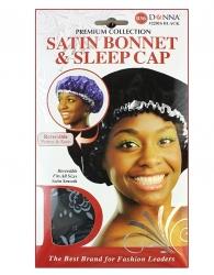 Donna - Satin Bonnet & Sleep Cap #22016 (BLK)