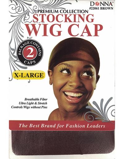 Donna - X-Large Stocking Wig Cap 2pcs 22061 (BROWN)